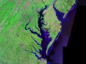 Landsat image of Chesapeake Bay via Creative Commons
